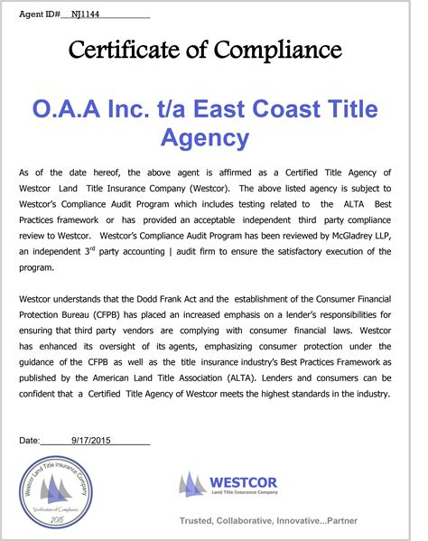 certification letter of compliance certificate of compliance for east coast title east