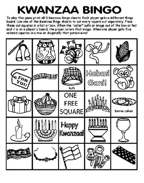 printable kwanzaa games kwanzaa bingo board no 1 coloring page crayola com