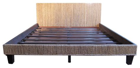 Woven Bed Frame Seagrass Woven Bed Frame King Transitional Panel Beds By Design Mix Furniture