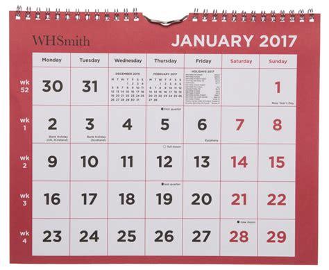 Calendar 2018 Whsmith Whsmith Wall Calendar 2017 Month To View Medium And
