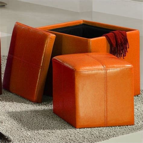 Orange Leather Ottoman Trent Home Ladd Faux Leather Storage Cube Ottoman In Orange 4723rn