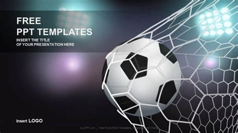 free football powerpoint templates soccer in the goal net sport ppt templates