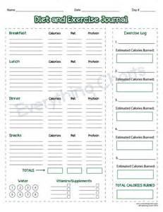 food and exercise journal template diet and exercise journal pdf file printable