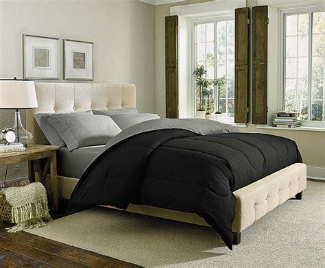 Solid Black Comforter by Cannon Solid Reversible Comforter Black Silver