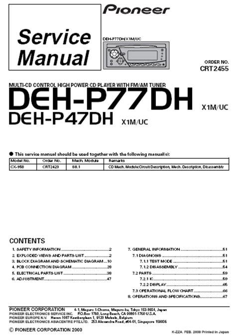pioneer car stereo wiring diagram deh p47dh pioneer free
