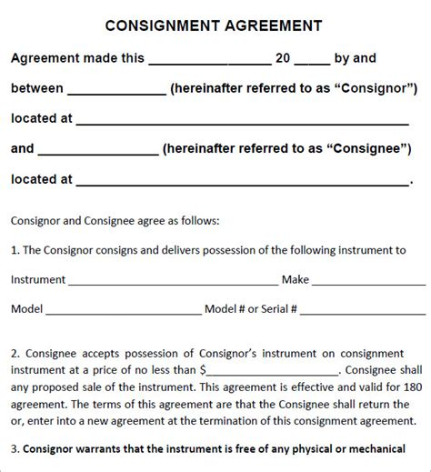 consignment inventory agreement template consignment agreement 10 documents in pdf word