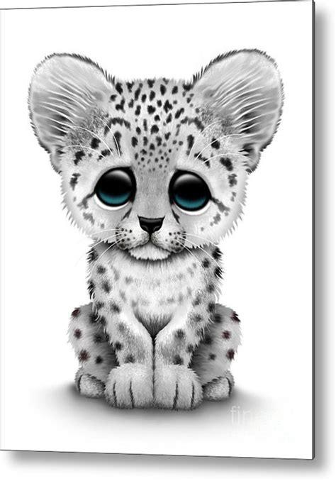 Cute Baby Snow Leopard Cub Metal Print by Jeff Bartels