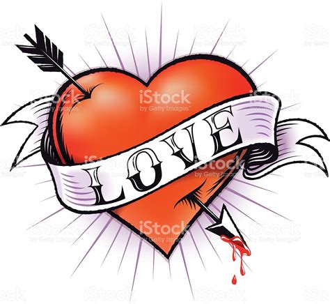 heart tattoo stock vector art amp more images of arrow bow