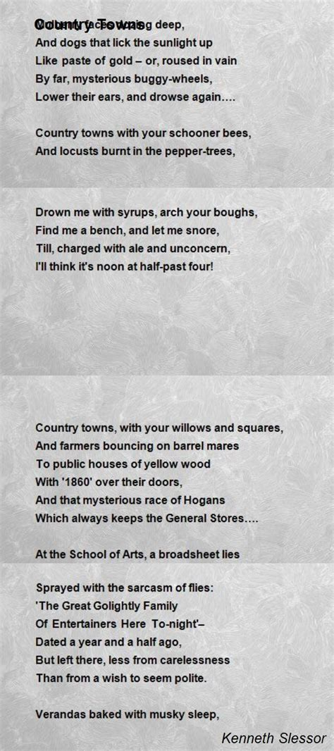 country towns country towns poem by kenneth slessor poem hunter