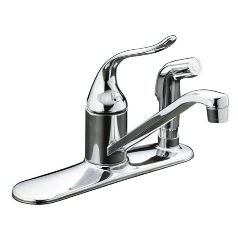 kohler coralais 2 handle standard kitchen faucet in shop kohler coralais polished chrome 1 handle low arc