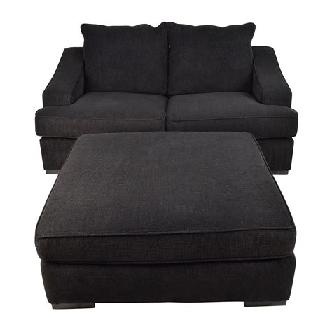 Cloth Ottoman 67 Black Cloth Loveseat And Matching Oversized Ottoman Sofas