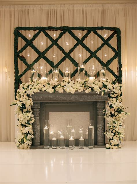 white floral garland on mantel ceremony decor floral