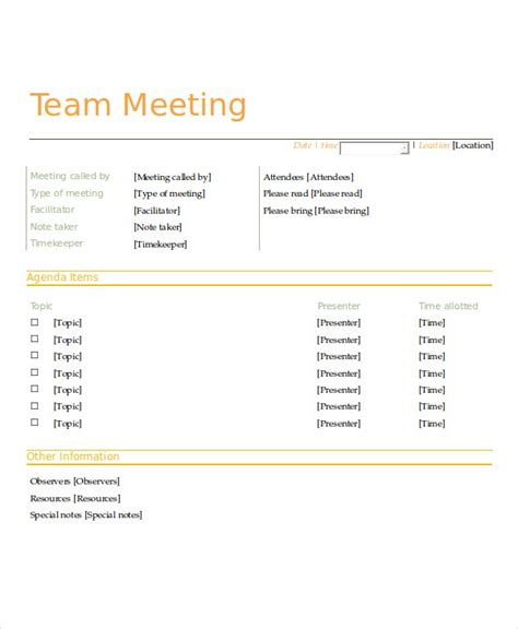 meeting agenda sles team meeting agenda template 28 images 41 meeting