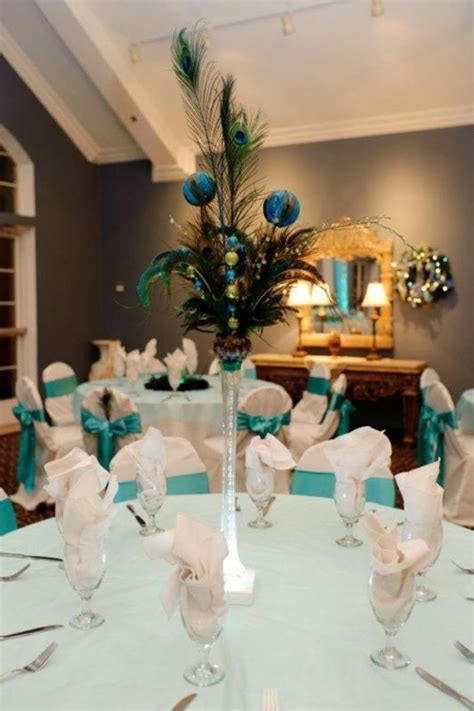 Peacock Christmas Centerpiece : wedding blue christmas