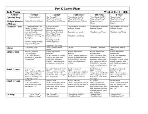 weekly lesson plans for pre blank weekly lesson plan