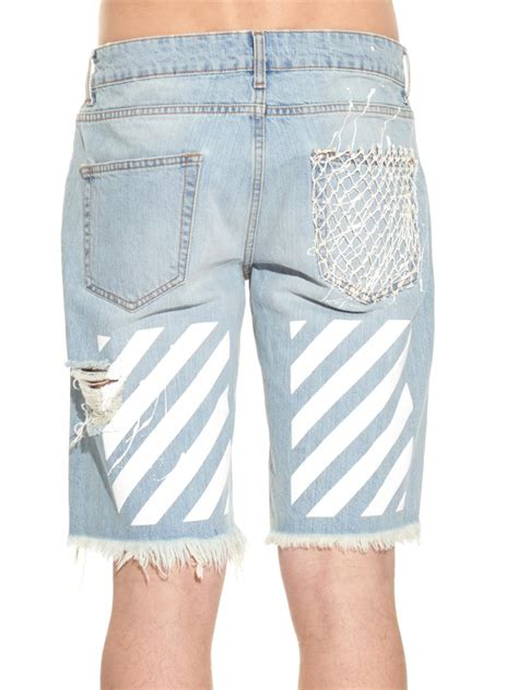 white c o virgil abloh new white paint splatter print denim shorts in blue for lyst