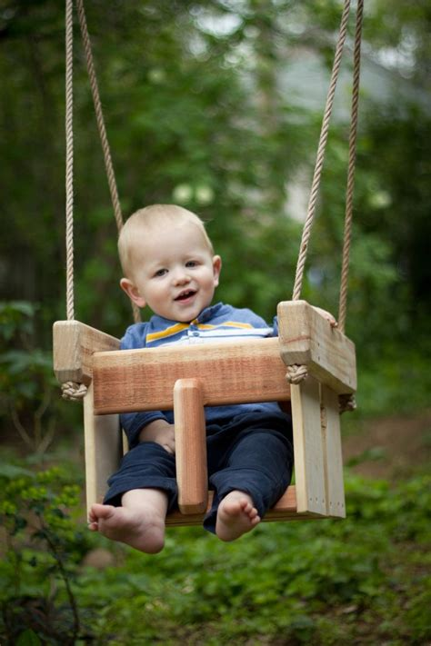 wooden child swing baby swing or toddler swing cedar handmade porch or tree