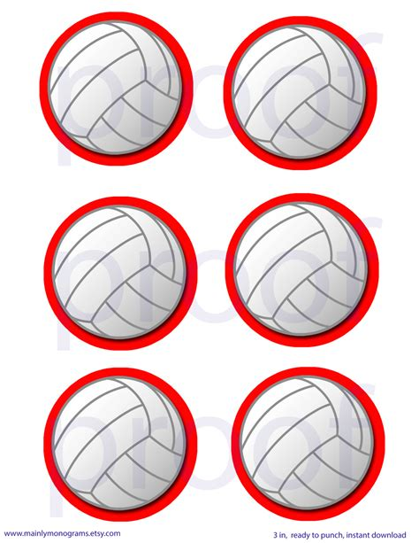 free printable volleyball tags 3 inch printable volleyball tags or labels red outline