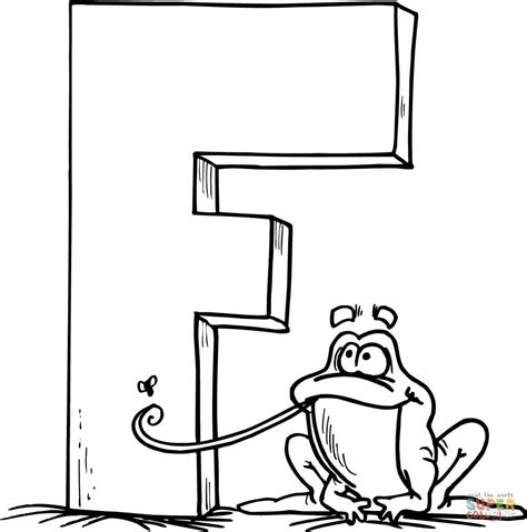 color with f letter f is for frog coloring page free printable