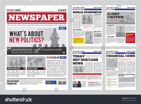 newspaper header template newspaper design template headline images stock vector