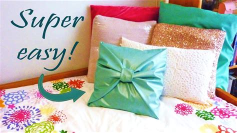 How To Design Pillow Covers - diy room decor no sew bow pillow cover