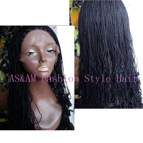 african box braided front lace wigs full hand braided synthetic black lace front box braid
