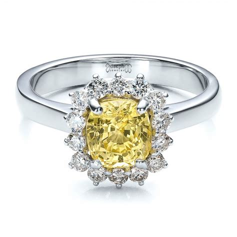 custom yellow sapphire and engagement ring 100036