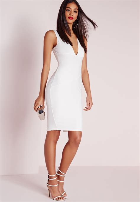 Bodycon White Dress missguided plunge bandage bodycon dress white in white lyst