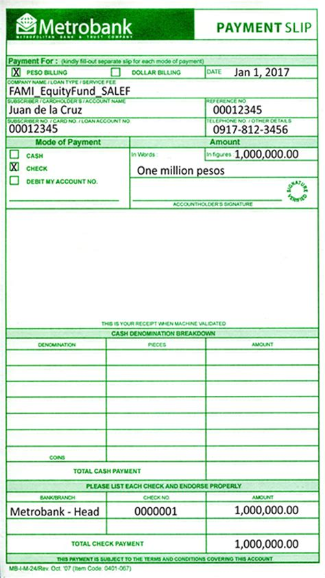 Sle Credit Card Payment Slip For Additional Investment Metro Asset Management Inc