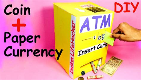 How To Make A Paper Bank - how to make piggy bank atm machine at home diy craft for