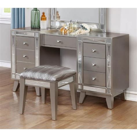 Mirrored Dining Room Tables by Coaster 2 Piece Mirrored Vanity Set In Metallic Mercury