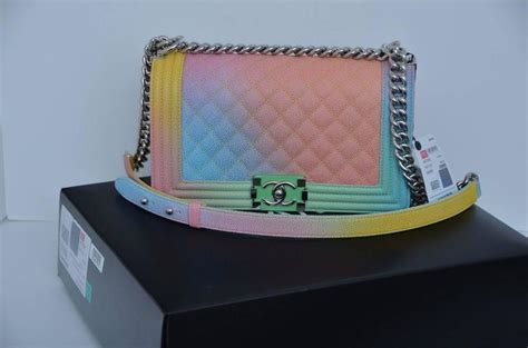 Chanel Chevron Rainbow Tassel Black Wallet 1075 1 chanel rainbow chanel boy handbag medium 17 crossbody new