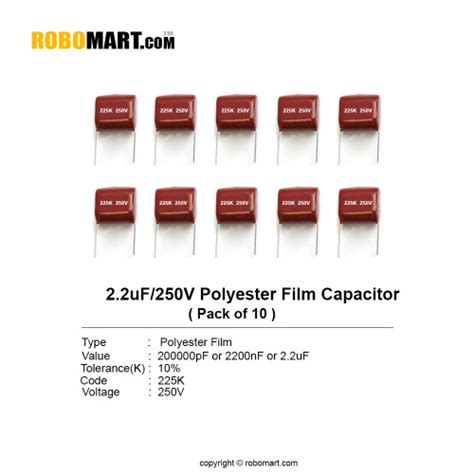 polyester capacitor india 2 2uf 250v 225k polyester capacitor india