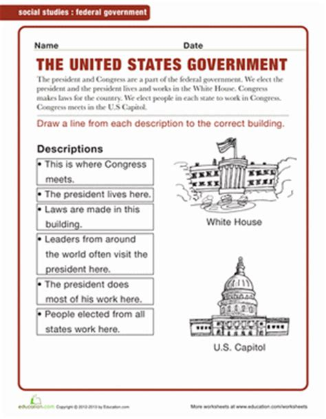 government worksheets for 2nd grade federal government worksheet education