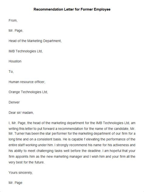 Reference Letter For Warehouse Employee 20 Employee Recommendation Letter Templates Hr Template Free Premium Template Free