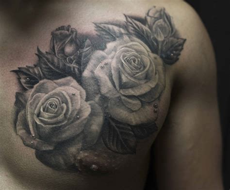 roses on chest tattoo chest roses chronic ink