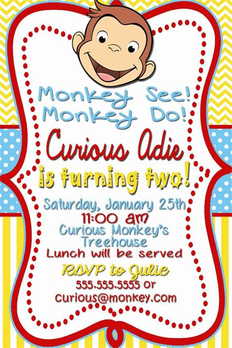 Curious George Baby Shower Invitations by Curious George Birthday Invitations 10 In Description