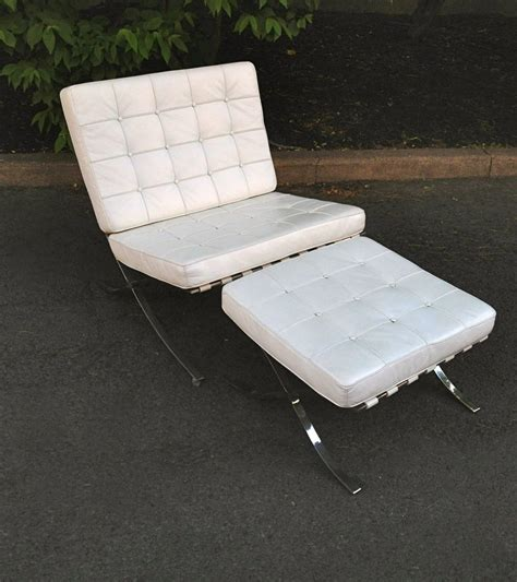 white club chair with ottoman white leather barcelona style lounge chair with ottoman