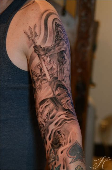 greek mythology sleeve tattoo designs mythology poseidon ideas