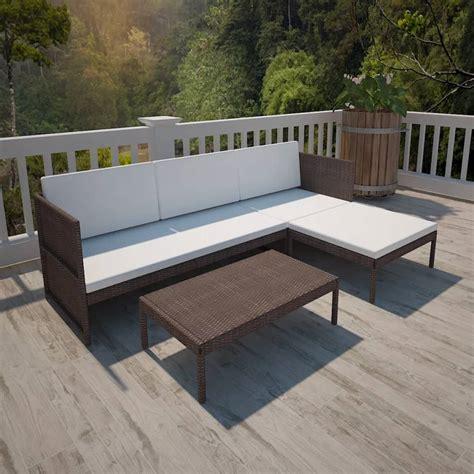 Lounge Sofa Outdoor Polyrattan by Vidaxl Brown Outdoor Poly Rattan Lounge Set Three Seat