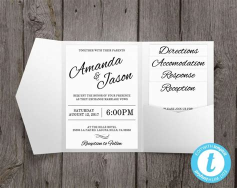 Pocket Wedding Invitations Template by Pocket Wedding Invitation Suite Printable Wedding