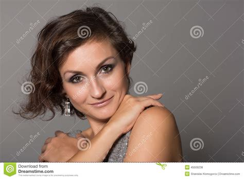pic of 36 yr old woman with grey hair charming smiling woman stock photo image 45509238