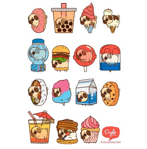 puglie pug shop an adorable pug illustrated as foods for some reason foodiggity