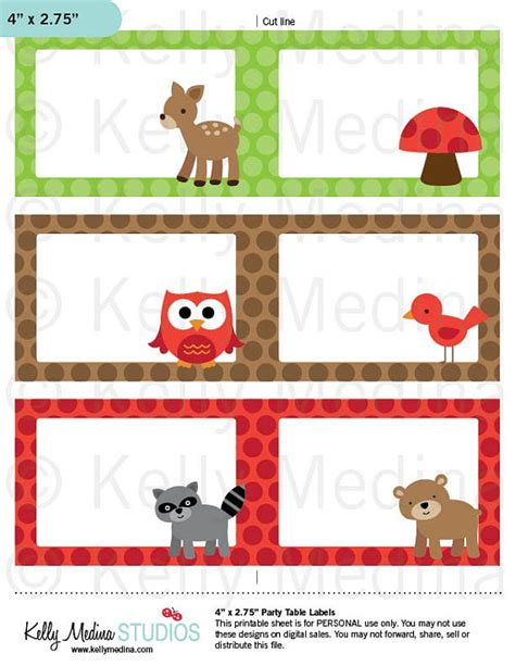 printable rainforest name tags items similar to woodland animals printable labels
