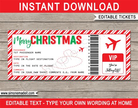 christmas gift plane ticket template editable