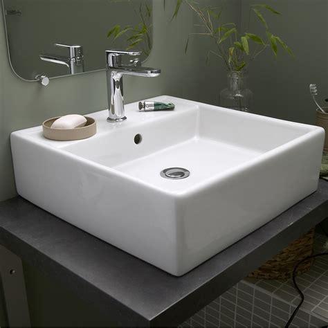 vasque 224 poser c 233 ramique l 46 x p 46 cm blanc edge leroy