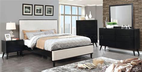 fabric bedroom furniture lennart cm7387bk 5pc bedroom set in black w fabric headboard