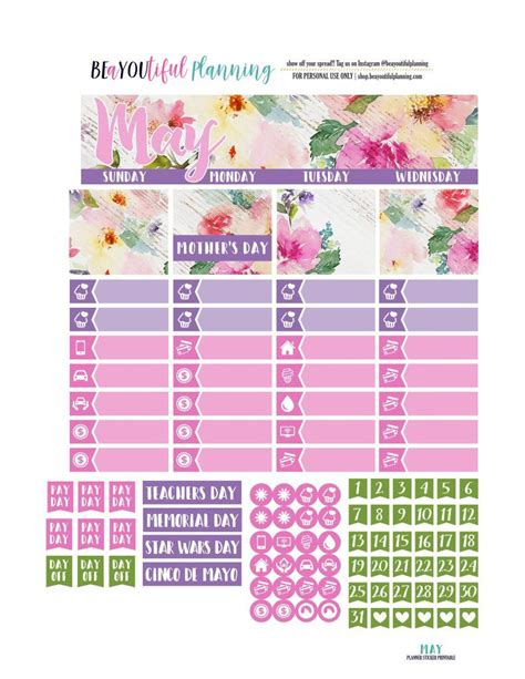 Monthly Planner Sticker free printable may monthly planner stickers kit from