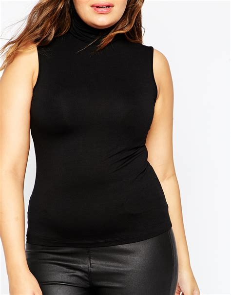 Top Neck Black lyst asos sleeveless high neck top black in black