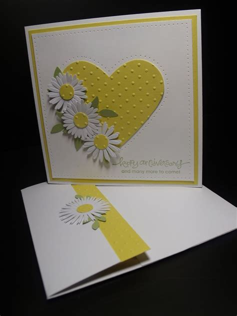 Handmade Carda - handmade anniversary card yellow and white big